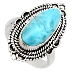 925 sterling silver 4.55cts natural blue larimar solitaire ring size 7 r3273