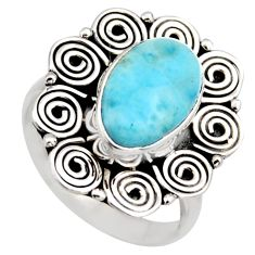 4.51cts natural blue larimar 925 sterling silver solitaire ring size 7.5 r3274