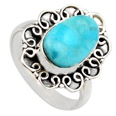 4.69cts natural blue larimar 925 sterling silver solitaire ring size 7.5 r3275