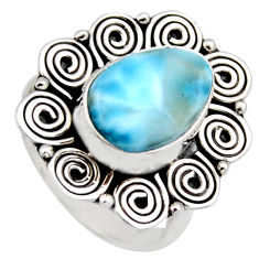 5.53cts natural blue larimar 925 sterling silver solitaire ring size 7.5 r3276