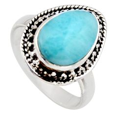 5.11cts natural blue larimar 925 sterling silver solitaire ring size 8 r3277