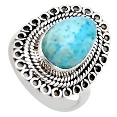 925 sterling silver 5.30cts natural blue larimar solitaire ring size 8.5 r3278
