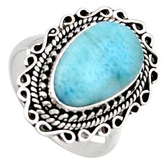 8.03cts natural blue larimar 925 sterling silver solitaire ring size 9 r3279