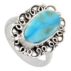 5.13cts natural blue larimar 925 sterling silver solitaire ring size 7 r3280