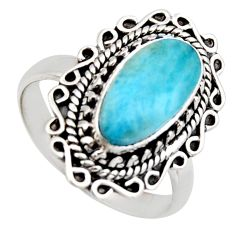 4.38cts natural blue larimar 925 sterling silver solitaire ring size 8.5 r3281