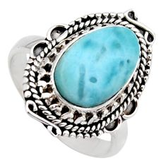 925 sterling silver 5.30cts natural blue larimar solitaire ring size 8 r3284