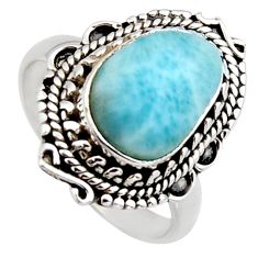 4.52cts natural blue larimar 925 sterling silver solitaire ring size 8 r3285