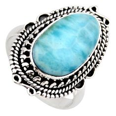 7.22cts natural blue larimar 925 sterling silver solitaire ring size 7.5 r3287