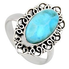 4.70cts natural blue larimar 925 sterling silver solitaire ring size 8.5 r3291