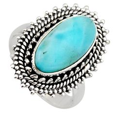 925 sterling silver 5.12cts natural blue larimar solitaire ring size 7.5 r3292