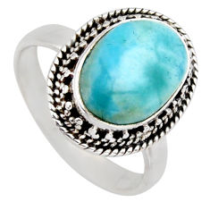 5.12cts natural blue larimar 925 sterling silver solitaire ring size 7.5 r3293