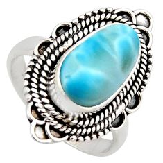 4.73cts natural blue larimar 925 sterling silver solitaire ring size 7 r3294