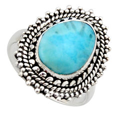 5.31cts natural blue larimar 925 sterling silver solitaire ring size 7 r3296