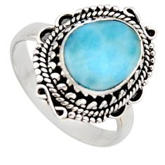 925 sterling silver 5.07cts natural blue larimar solitaire ring size 9 r3298