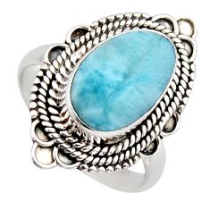 5.52cts natural blue larimar 925 sterling silver solitaire ring size 8.5 r3299
