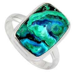 10.23cts natural green azurite malachite 925 silver solitaire ring size 10 r3302