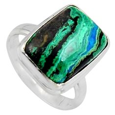 10.41cts natural green azurite malachite 925 silver solitaire ring size 8 r3303