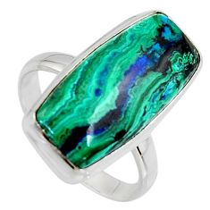 13.34cts natural green azurite malachite 925 silver solitaire ring size 10 r3313