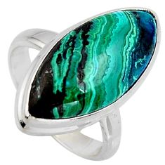 10.31cts natural green azurite malachite 925 silver solitaire ring size 6 r3326