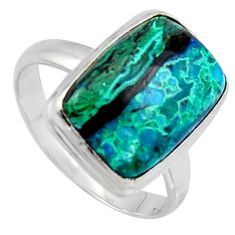 9.99cts natural green azurite malachite 925 silver solitaire ring size 9 r3345