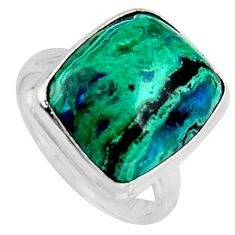 8.77cts natural green azurite malachite 925 silver solitaire ring size 7 r3351