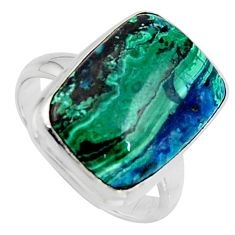 9.99cts natural green azurite malachite 925 silver solitaire ring size 7 r3374
