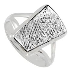 9.86cts natural grey meteorite gibeon 925 silver solitaire ring size 10 r3501