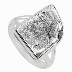 11.91cts natural grey meteorite gibeon 925 silver solitaire ring size 10 r3502
