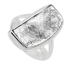 10.02cts natural grey meteorite gibeon 925 silver solitaire ring size 6 r3507