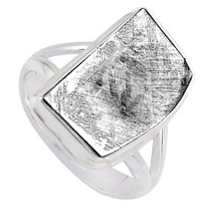 10.78cts natural grey meteorite gibeon 925 silver solitaire ring size 7.5 r3510