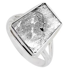 12.36cts natural grey meteorite gibeon 925 silver solitaire ring size 10 r3520