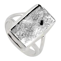 10.81cts natural grey meteorite gibeon 925 silver solitaire ring size 6.5 r3526