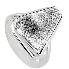 11.66cts natural grey meteorite gibeon 925 silver solitaire ring size 7.5 r3528