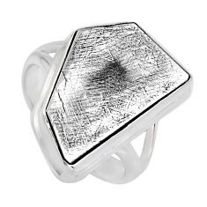 11.66cts natural grey meteorite gibeon 925 silver solitaire ring size 7 r3533