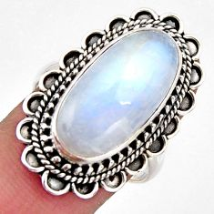 11.83cts natural rainbow moonstone 925 silver solitaire ring size 8.5 r3541