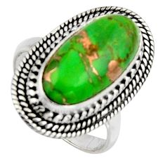 7.55cts green copper turquoise 925 silver solitaire ring jewelry size 7.5 r3583