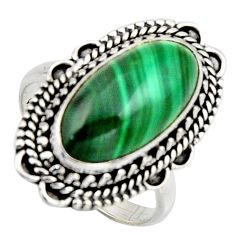 925 silver 8.61cts natural green malachite oval solitaire ring size 8 r3603