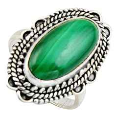 8.14cts natural green malachite 925 silver solitaire ring size 8 r3609