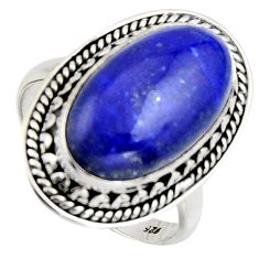 925 silver 10.04cts natural blue lapis lazuli oval solitaire ring size 7.5 r3617