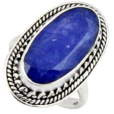 9.72cts natural blue sapphire 925 silver solitaire ring jewelry size 7.5 r3621