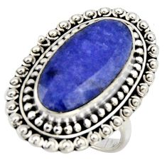 11.05cts natural blue sapphire 925 silver solitaire ring jewelry size 7.5 r3622