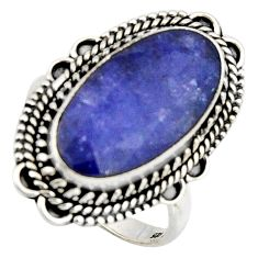 10.04cts natural blue sapphire 925 silver solitaire ring jewelry size 8.5 r3625