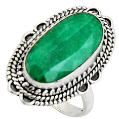 11.25cts natural green emerald 925 silver solitaire ring jewelry size 8.5 r3632