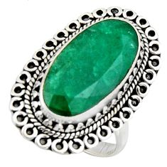 11.62cts natural green emerald 925 silver solitaire ring jewelry size 8.5 r3633
