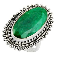 10.33cts natural green emerald 925 silver solitaire ring jewelry size 7 r3636