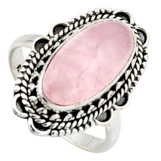 7.35cts natural pink rose quartz 925 silver solitaire ring size 8.5 r3643