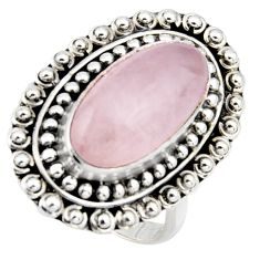 925 silver 6.98cts natural pink rose quartz solitaire ring jewelry size 8 r3644
