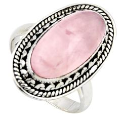 7.12cts natural pink rose quartz 925 silver solitaire ring size 6.5 r3646