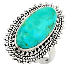 10.02cts blue arizona mohave turquoise 925 silver solitaire ring size 8.5 r3650