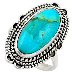 10.02cts blue arizona mohave turquoise 925 silver solitaire ring size 9 r3651